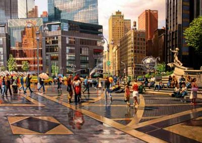 "Detail ""Columbus Circle, Spring"" Oil/linen, 40 x 78"""