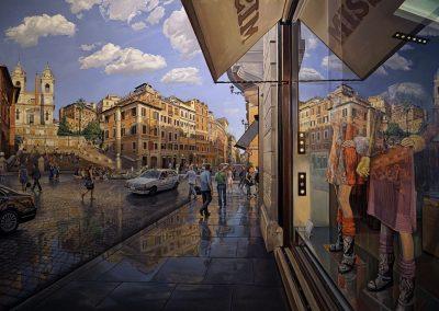 """Spanish Steps Self Portrait"" Oil/linen, 62 x 98"""