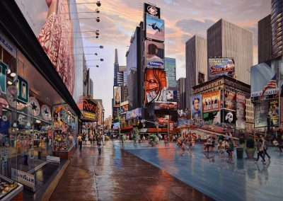 """Times Square Self Portrait"" Oil/linen, 51 x 85"""