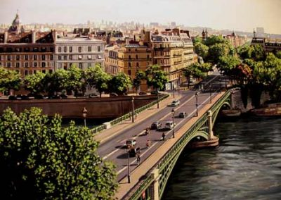 "Detail ""Les Ponts de Paris"" Oil/linen, 36 x 72"""