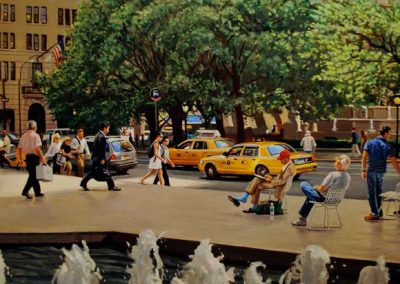 "Detail ""NYC Plaza"" Oil/linen, 44 x 74"""