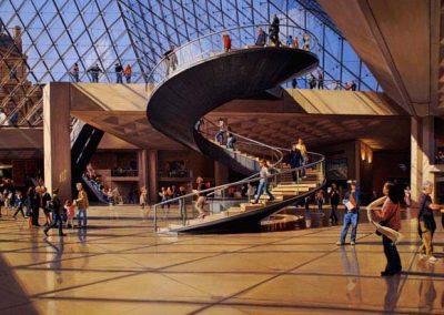 "Detail ""Louvre, The Pyramid"" Oil/linen, 44 x 64"""
