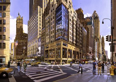 """57th and 5th Avenue""  Oil/Linen, 32 x 60"""