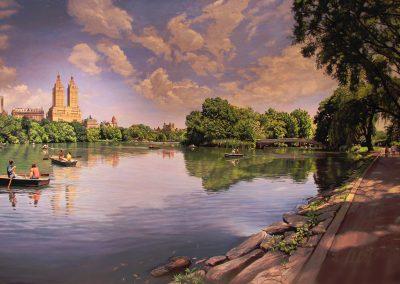 """Central Park, Lake"" Oil/linen, 44 x 74"""