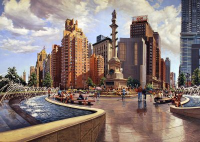 """Columbus Circle Summer"" Oil/linen, 40 x 78"""