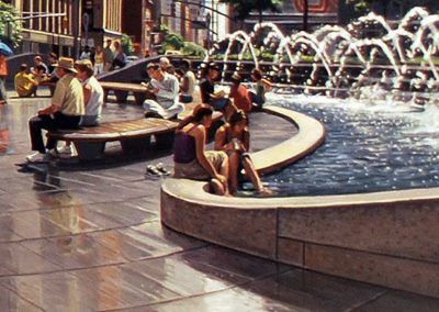 "Detail ""Columbus Circle Summer"" Oil/linen, 40 x 78"""