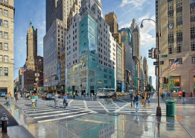 """57th Street and Fifth Avenue"" Oil/linen, 48 x 72"""