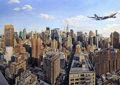 """NYC Flight"" 2019,  Oil on linen,  54 x 102 """