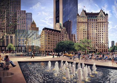 """NYC Plaza"" Oil/linen, 44 x 74"""