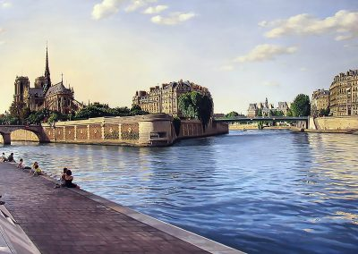 """PARIS ,SEINE"" oil/linen 28 x 72"""