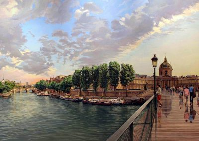 """Pont des Arts"" Oil/linen, 40 x 72"""