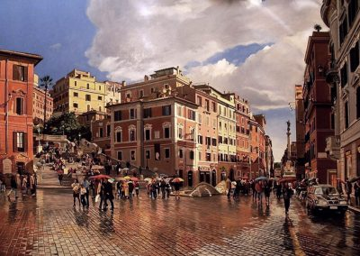 """Rome, Spanish Steps""  Oil/linen, 40 x 72"""