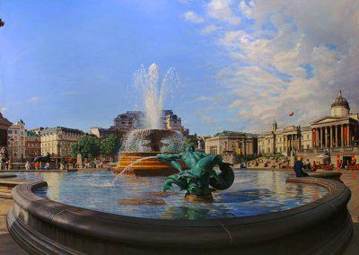 """Trafalgar Square"" Oil/linen, 36 x 74"""